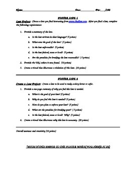Summary of Existing Law / Create Own Law Project worksheet