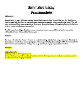 Summative Essay Prompt for Frankenstein
