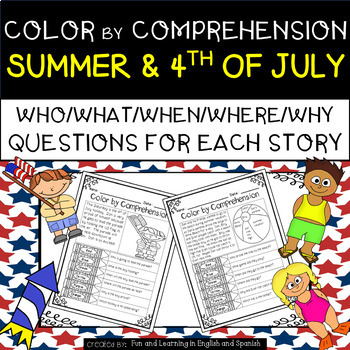 Summer & 4th of July (Color by Comprehension Stories and Q