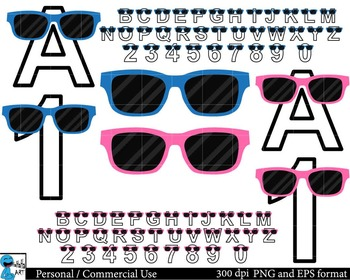 Summer ABC and numbers Digital Clip Art Graphics 74 images cod92