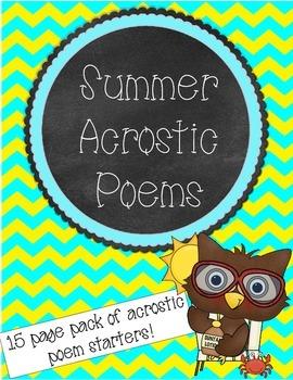 Summer Acrostic Poems Pack