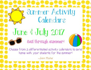Summer Activity Calendars: June & July 2016 *Differentiated