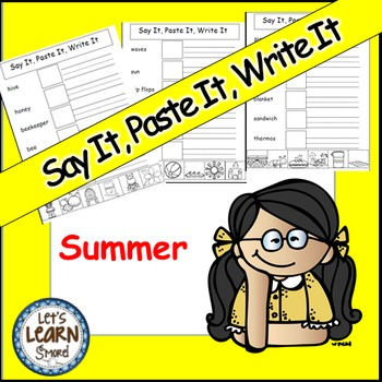 Summer Activities, Cut and Paste,Say It,Paste It,Write It,