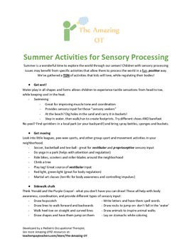 Summer Activities for Sensory Processing
