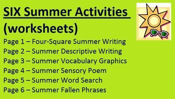 Summer Activities (worksheets) -- writing, vocabulary, etc.