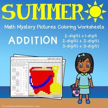 Summer Addition Coloring Worksheets