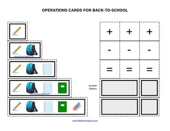 Summer Back to School operations cards prek primary math a