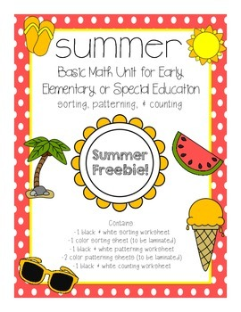 Summer Basic Math Freebie for Early Elementary or Special