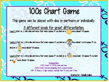 Summer Beach 100s chart Games (3 Differentiated) Common Co
