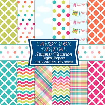 Summer Beach Digital Background Papers