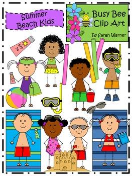 Summer Beach Kids Clip Art {By Busy Bee Clip Art}
