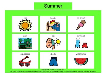 Summer Bingo! [speech therapy and autism]