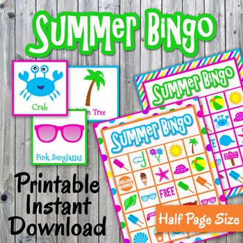 Summer Bingo Cards and Memory Game - Printable - Up to 30 players