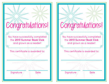 Summer Book Club Award