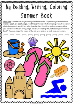 Summer Book - Read, Write, Color