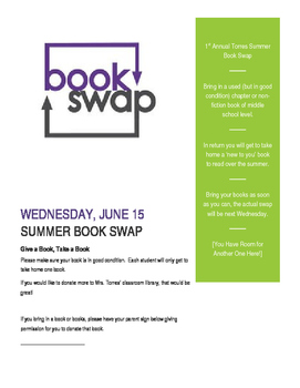 Summer Book Swap Exchange Flyer- editable for any grade