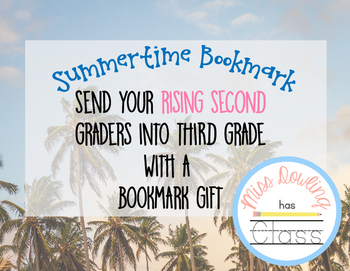 Summer Bookmark for Rising 3rd Graders FREEBIE