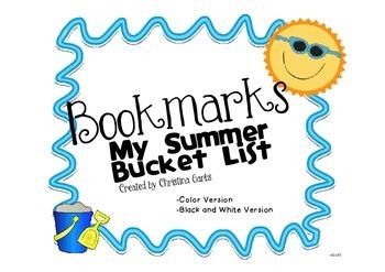 Summer Bucket List Bookmarks