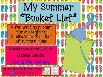 "Summer ""Bucket List"" Writing Activity FREEBIE"