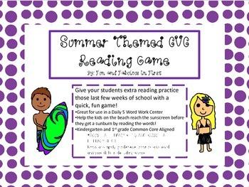 Summer CVC Reading Game for K/1st