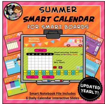 Summer Calendar for SMART Board PK, K, 1st