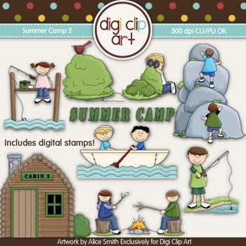 Summer Camp 2-  Digi Clip Art/Digital Stamps - CU Clip Art