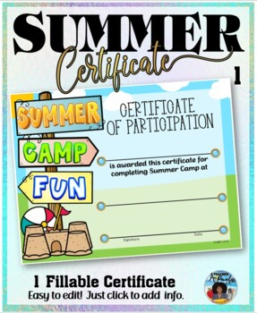 Summer Camp Participation Certificate 1