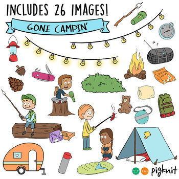 Summer Campers Clip Art, Camping, Hiking, Wilderness -- La