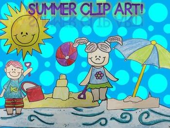 Summer Clip Art - Beach, sand castle, and kids!