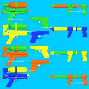 Summer Clip Art, Watergun Clipart, Commercial Use Graphics