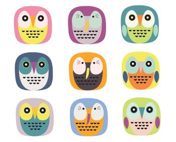 Summer Clipart Owl, Animal Clipart, Owl Clipart Set #029