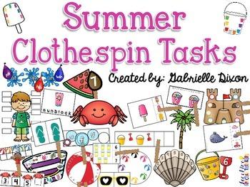 Summer Clothespin Tasks