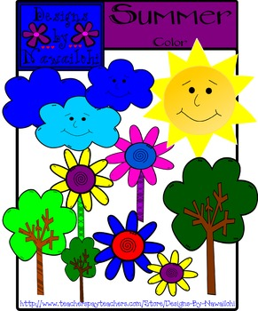Summer Color Clip Art {Designs By Nawailohi}