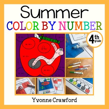 Summer Review Color by Number (4th Grade)  Color by Roundi