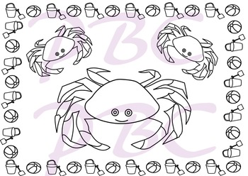 Summer Coloring Page Crabs