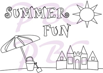 Summer Coloring Page Sand Castle Beach Fun