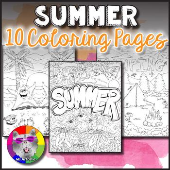 Summer Coloring Sheets. Zen Doodle Pages.