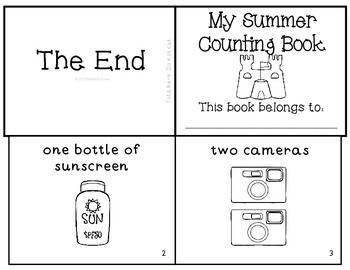 Summer Counting Emergent Reader Mini-Book