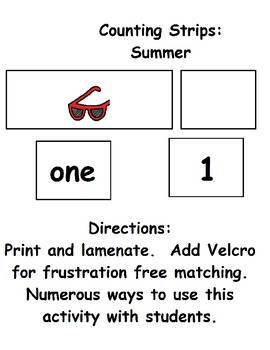 Summer Counting Strips:  Numbers 1 to 10 (ESE or Gen. Ed)