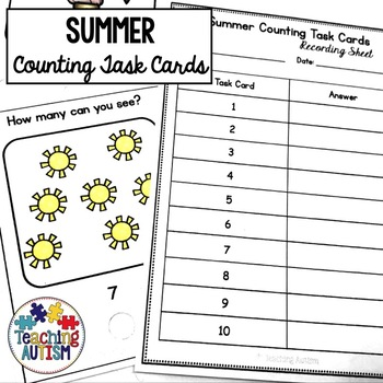 Summer Counting Task Cards to 20