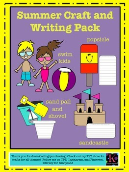 Summer / Beach Craft And Writing Pack: Kids, Shovel & Pail