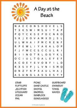 Summer Word Search: A Day at the Beach