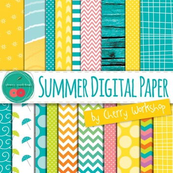 Summer Digital Paper - Digital Backgrounds with sun, sea,