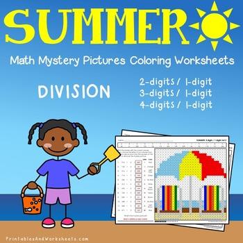 Summer Division Coloring Worksheets