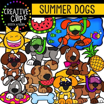 Summer Dogs {Creative Clips Digital Clipart}