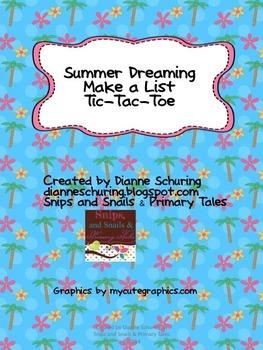Summer Dreaming Make a List Tic-Tac-Toe