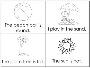 Summer Early Emergent Reader Reading Activity Cards.