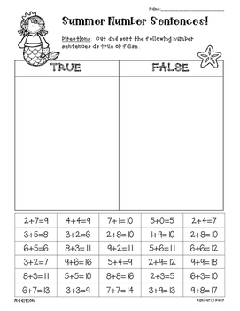 Summer / End of Year Addition and Subtraction True or Fals
