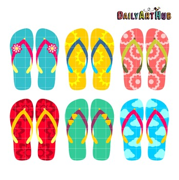 Summer Flip Flops Clip Art - Great for Art Class Projects!
