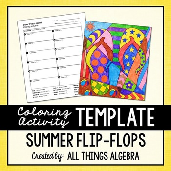 Coloring Activity Template: Summer Flip-Flops (Personal Use Only)